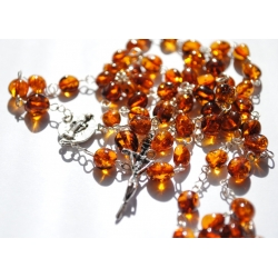 silver rosary with amber