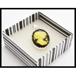 Kamea bursztynowa w srebrze - 20x30
