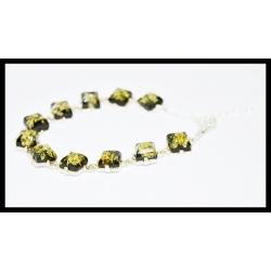 Srebrna bransoletka z zielonym bursztynem - Piramidka kod:B512z