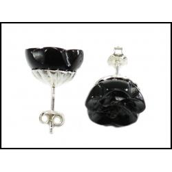 Czarne rzeźbione kolczyki różyczki