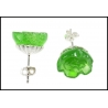 Zielone rzeźbione kolczyki różyczki