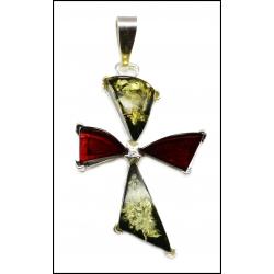 Srebrny krzyż z bursztynem