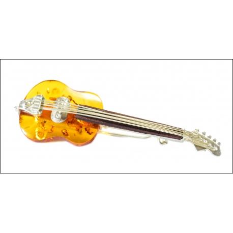 Bursztynowa Broszka Gitara