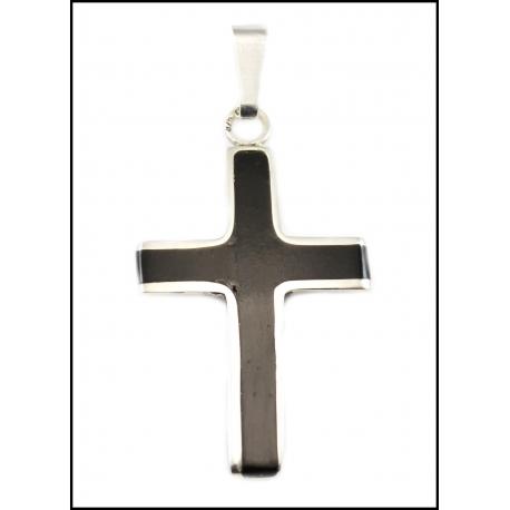 Bursztynowy krzyż ze srebrem