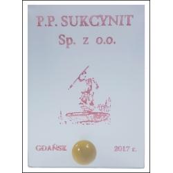 Wizytownik szklany z bursztynem i srebrem Dedykowany WSz01