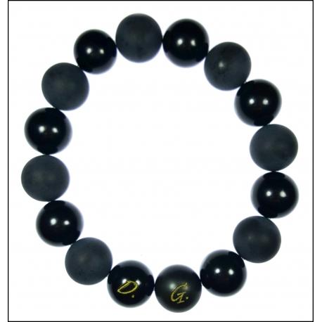 Dedykowana męska czarna bransoleta DBR02